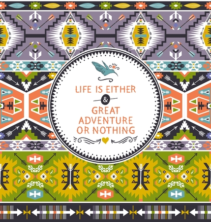 african fabric: Bright pattern with geometric elements in apache style