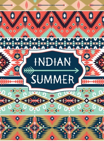 indian summer: Bright decorative geometric pattern in tribal  style