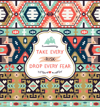 indigenous: Seamless bright  indigenous pattern in navajo style Illustration
