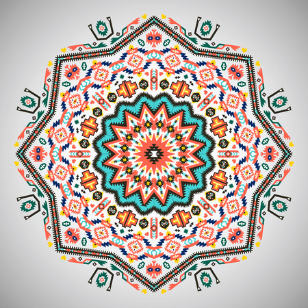 aztec: Ornamental round geometric pattern in aztec style Illustration