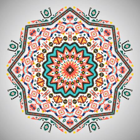 tribales: Ornamentales patrón geométrico ronda en estilo azteca