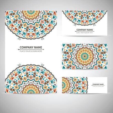 비즈니스 다채로운 카드 템플릿입니다. 부족의 스타일로 벡터 일러스트 레이션