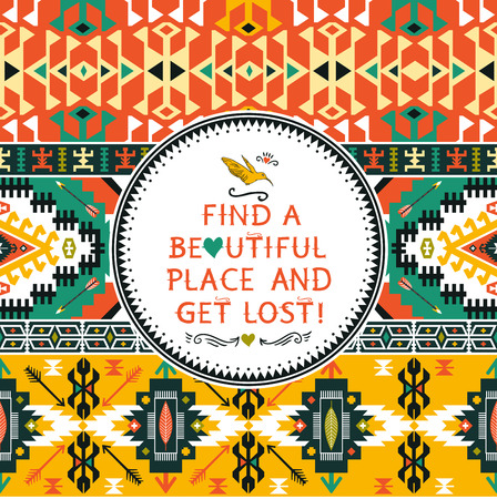 tribal pattern: Vector  colorful seamless colorful tribal pattern