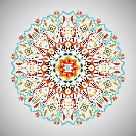 Ornamental round colorful geometric pattern in aztec style Vektorové ilustrace