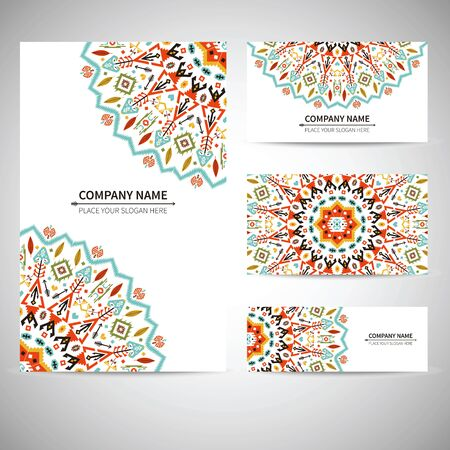 business card: Business card template. Illustration in native style
