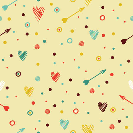 fun background: Festive seamless pattern with heart and arrow