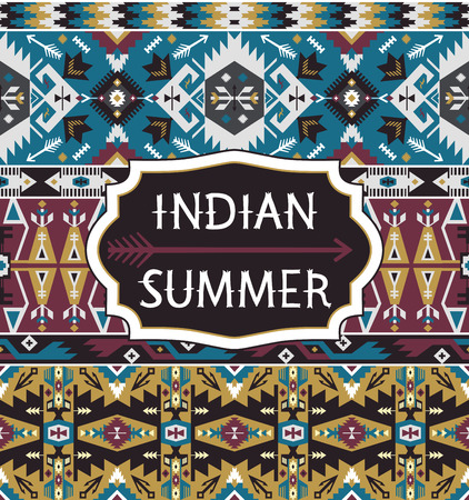 indio americano: Patrón tribal inconsútil con los elementos geométricos