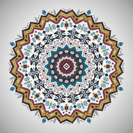 circle abstract: Ornamental round colorful geometric pattern in aztec style Illustration