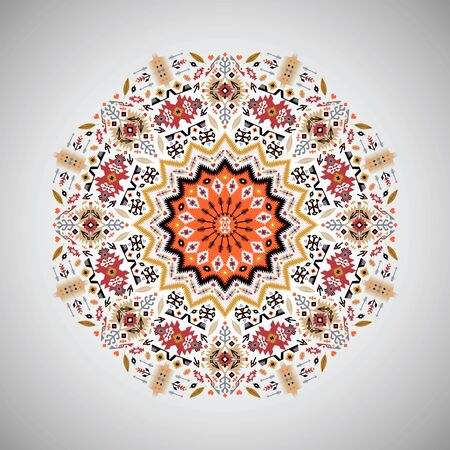 style geometric: Ornamental colorful round geometric pattern in aztec style Illustration