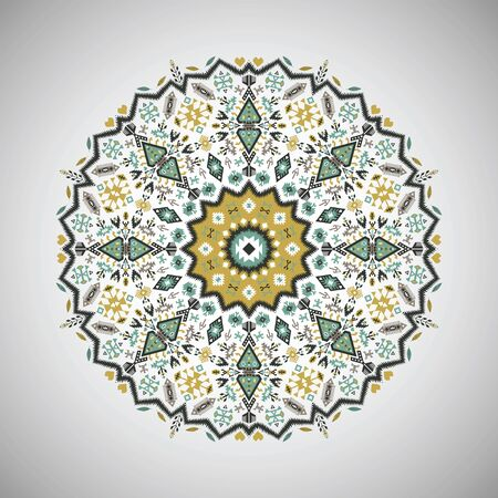 encajes: Ornamental colorful round geometric pattern in aztec style Vectores