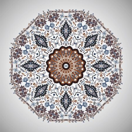 arabesque pattern: Ornamental round colorful geometric pattern in aztec style Illustration