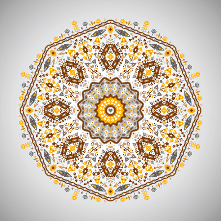 Ornement rond motif géométrique coloré dans le style aztèque Banque d'images - 87891628