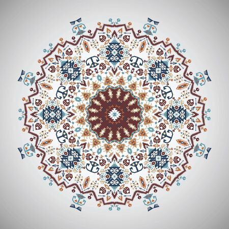 encajes: Ornamental round colorful geometric pattern in aztec style Vectores