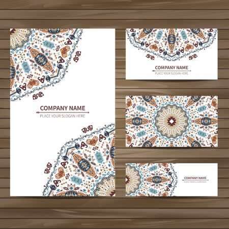 encajes: Business colorful card template. Vector illustration in native style Vectores