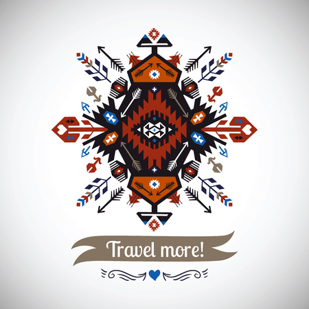 indio americano: elemento decorativo colorido en estilo étnico nativo Vectores