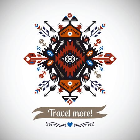 kleurrijke decoratief element op inheemse etnische stijl