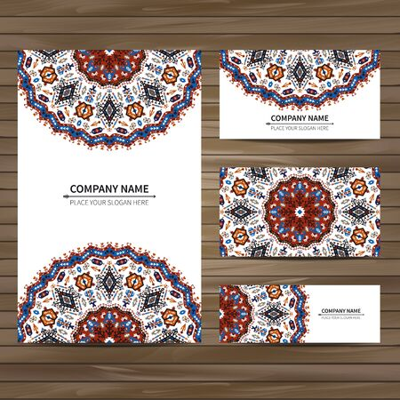 mexicans: Business colorful card template. illustration in tribal style