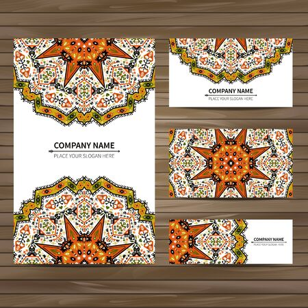 indian culture: Business card template. Vector illustration in native style
