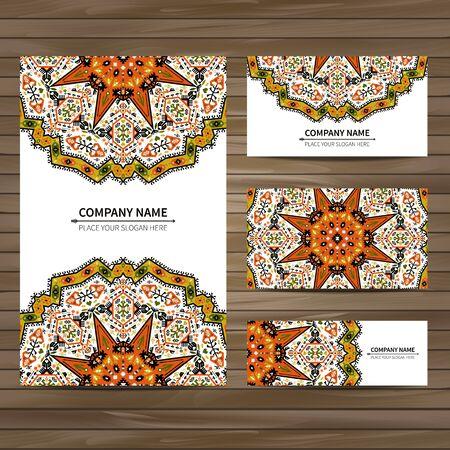 indianische muster: Visitenkarte Vorlage. Vektor-Illustration im einheimischen Stil Illustration