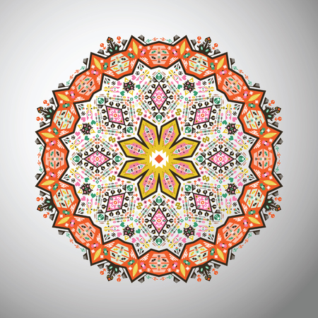 latin americans: Ornamental round  geometric pattern in aztec style Illustration