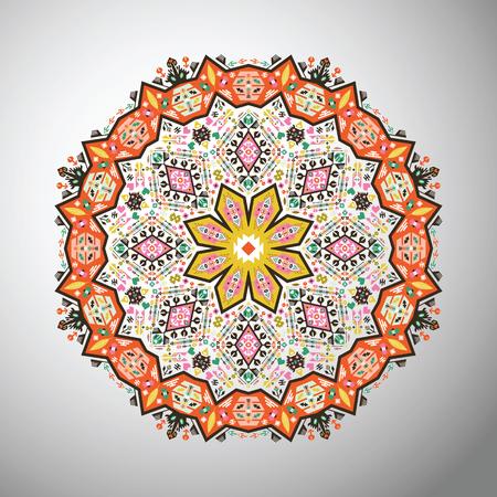 etnia: patrón geométrico redondo ornamental en el estilo azteca