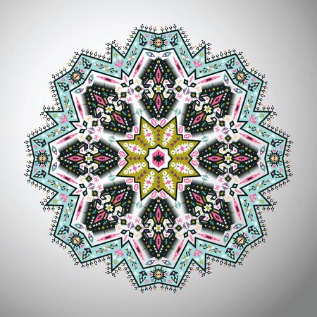 style geometric: Ornamental round bright geometric mandala in aztec style