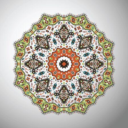 vintage patterns: Ornamental round bright geometric pattern in aztec style Illustration