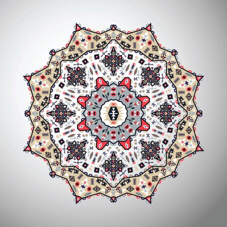 style geometric: Ornamental round colorful geometric pattern in aztec style Illustration