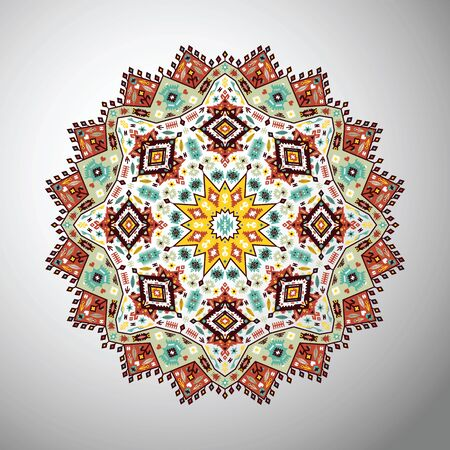 style geometric: Ornamental round bright geometric pattern in aztec style Illustration