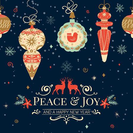 holiday greeting: Holiday and Christmas hand drawing greeting card