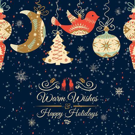 a holiday greeting: Holiday and Christmas hand drawing greeting card