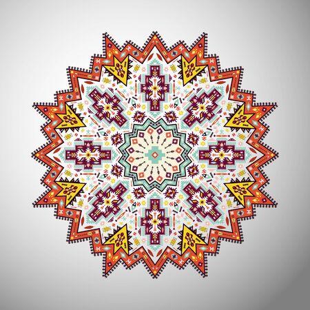 style geometric: Ornamental round geometric pattern in aztec style Illustration