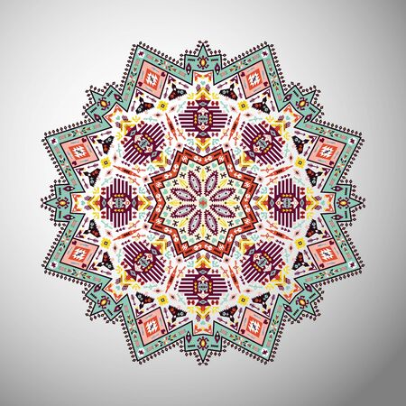 ornamental pattern: Ornamental round geometric pattern in aztec style Illustration