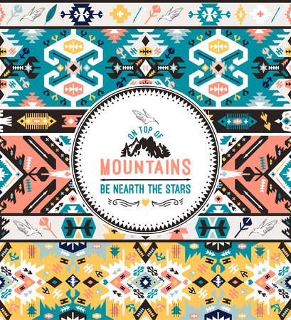 Tribal chic seamless colorful patterns Illustration