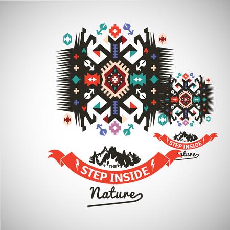 Colorful tribal Navajo style vector ornamental geometric logo set.