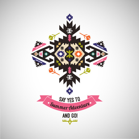 Colorful tribal Navajo style vector ornamental geometric logo set.
