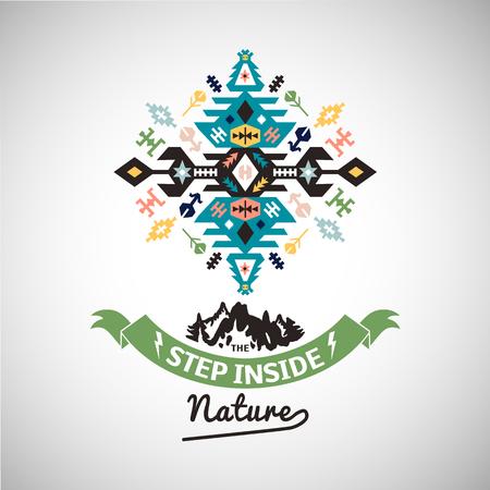 カラフルな部族ナバホ スタイル ベクター装飾の幾何学的なロゴ  イラスト・ベクター素材