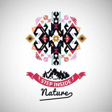 カラフルな部族ナバホ スタイル ベクトル幾何学ロゴの装飾セット