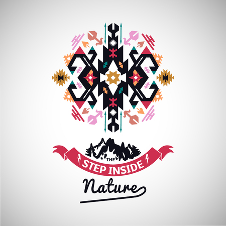 Colorful tribal Navajo style vector ornamental geometric logo set 向量圖像