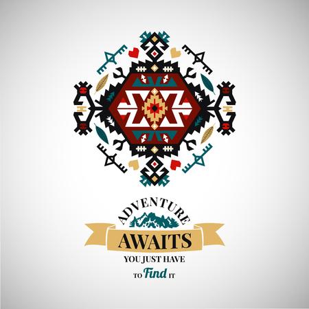 カラフルな部族ナバホ スタイルの装飾の幾何学的なロゴを設定 写真素材