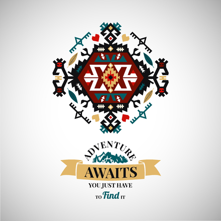 Colorful tribal Navajo style  ornamental geometric logo set