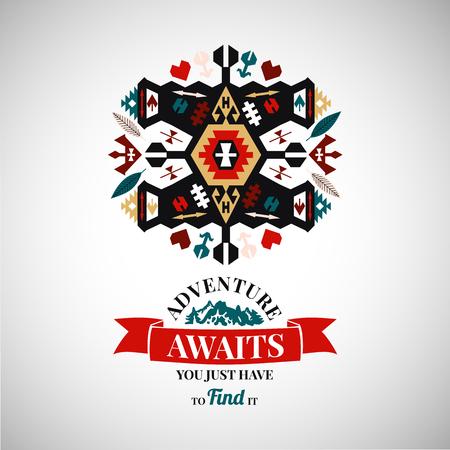 Colorful tribal Navajo style vector ornamental geometric logo set Illusztráció