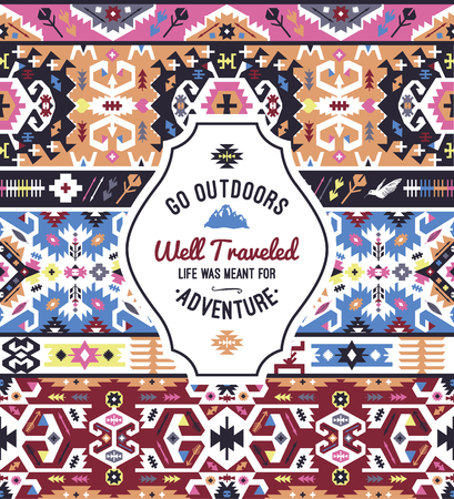 Fancy abstract colorful geometric vector pattern in tribal style