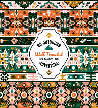 Fancy abstract geometric vector pattern in tribal style Illustration