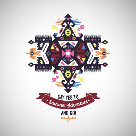 다채로운 부족 나바호 어 스타일 벡터 장식용 기하학적 로고 세트