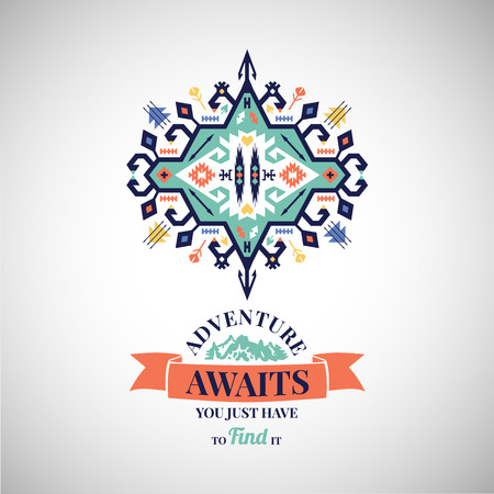 Colorful tribal Navajo style vector ornamental geometric logo set Иллюстрация