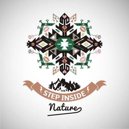 Colorful tribal Navajo style vector ornamental geometric logo set Ilustração