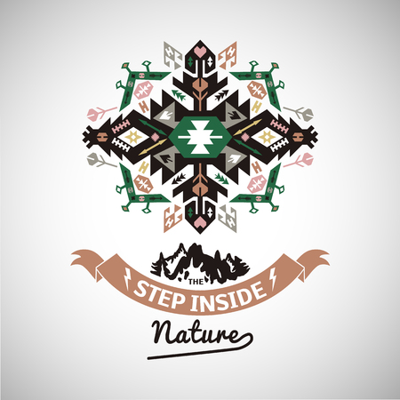 Colorful tribal Navajo style vector ornamental geometric logo set Illustration