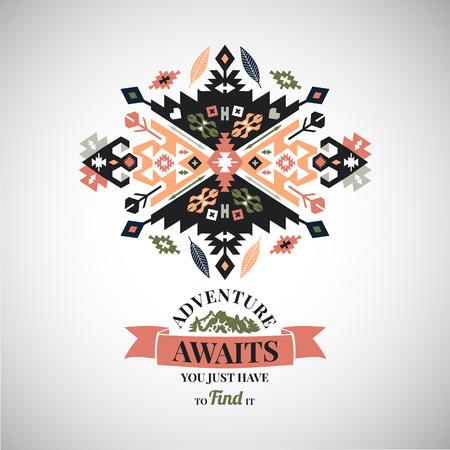 Colorful tribal Navajo style vector ornamental geometric set