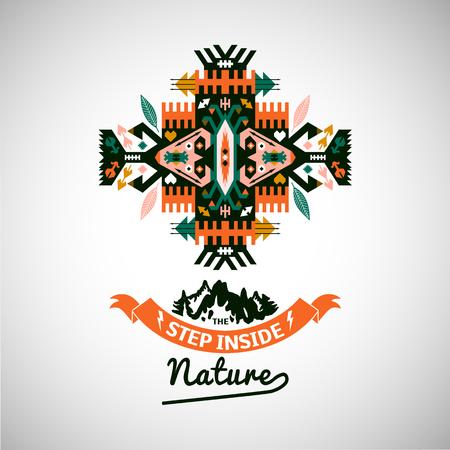 부족의 나바호 어 스타일 벡터 장식용 기하학적 로고 세트
